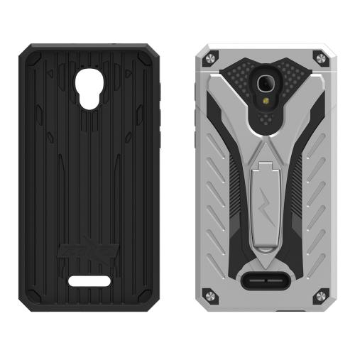 Alcatel Fierce 4 Case, STATIC Dual Layer Hard Case TPU Hybrid [Military Grade] w/ Kickstand & Shock Absorption [Silver/ Black]
