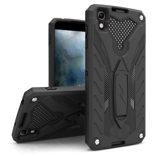 Alcatel Idol 4 Case, STATIC Dual Layer Hard Case TPU Hybrid [Military Grade] w/ Kickstand & Shock Absorption [Black] - (ID: STT-ALCOTNT-BKBK)