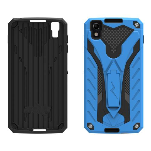 Alcatel Idol 4 Case, STATIC Dual Layer Hard Case TPU Hybrid [Military Grade] w/ Kickstand & Shock Absorption [Blue/ Black]