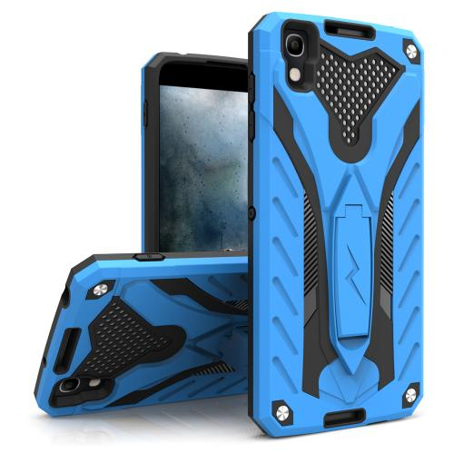 Alcatel Idol 4 Case, STATIC Dual Layer Hard Case TPU Hybrid [Military Grade] w/ Kickstand & Shock Absorption [Blue/ Black] - (ID: STT-ALCOTNT-BLBK)