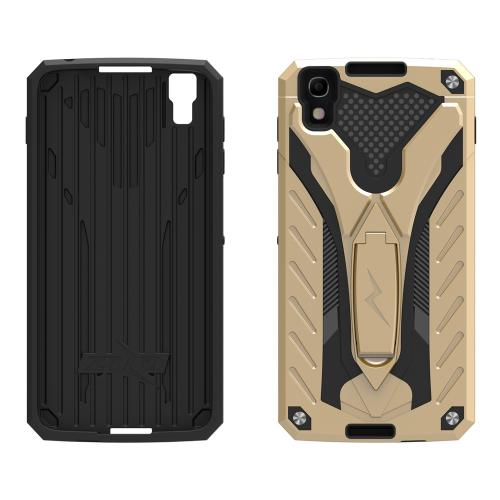 Alcatel Idol 4 Case, STATIC Dual Layer Hard Case TPU Hybrid [Military Grade] w/ Kickstand & Shock Absorption [Gold/ Black] - (ID: STT-ALCOTNT-GDBK)