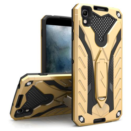 [Alcatel Idol 4] Case, STATIC Dual Layer Hard Case TPU Hybrid [Military Grade] w/ Kickstand & Shock Absorption [Gold/ Black]