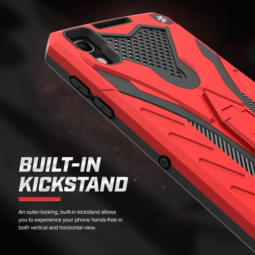 [Alcatel Idol 4] Case, STATIC Dual Layer Hard Case TPU Hybrid [Military Grade] w/ Kickstand & Shock Absorption [Red/ Black]