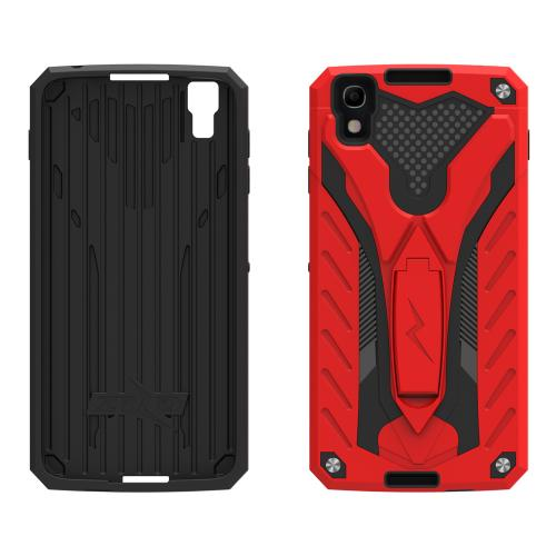 Alcatel Idol 4 Case, STATIC Dual Layer Hard Case TPU Hybrid [Military Grade] w/ Kickstand & Shock Absorption [Red/ Black] - (ID: STT-ALCOTNT-RDBK)