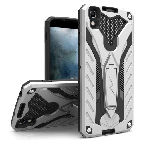 Alcatel Idol 4 Case, STATIC Dual Layer Hard Case TPU Hybrid [Military Grade] w/ Kickstand & Shock Absorption [Silver/ Black] - (ID: STT-ALCOTNT-SLBK)
