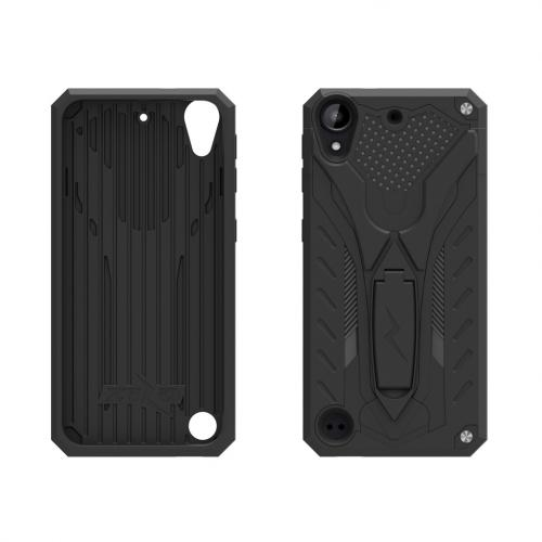 HTC Desire 530 Case, STATIC Dual Layer Hard Case TPU Hybrid [Military Grade] w/ Kickstand & Shock Absorption [Black]