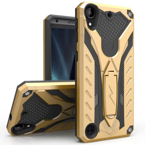 [HTC Desire 530] Case, STATIC Dual Layer Hard Case TPU Hybrid [Military Grade] w/ Kickstand & Shock Absorption [Gold/ Black]