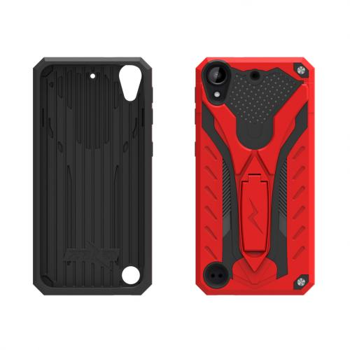 HTC Desire 530 Case, STATIC Dual Layer Hard Case TPU Hybrid [Military Grade] w/ Kickstand & Shock Absorption [Red/ Black] - (ID: STT-HTC530-RDBK)