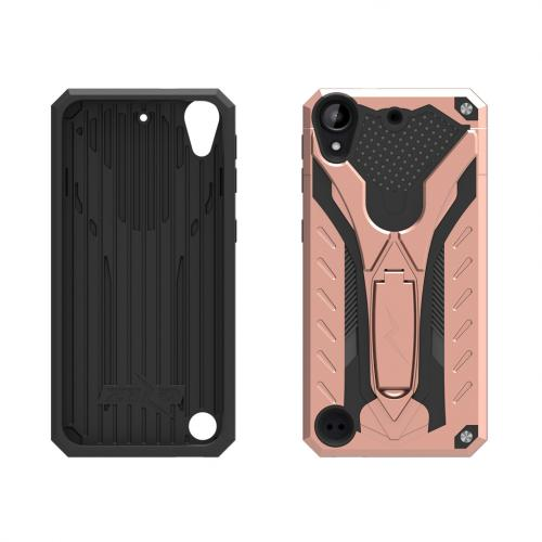 HTC Desire 530 Case, STATIC Dual Layer Hard Case TPU Hybrid [Military Grade] w/ Kickstand & Shock Absorption [Rose Gold/ Black]