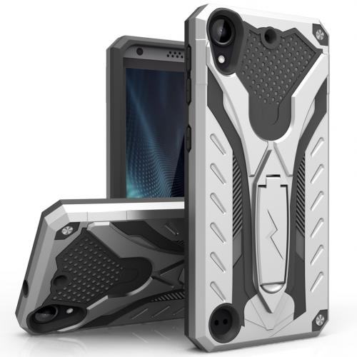 HTC Desire 530 Case, STATIC Dual Layer Hard Case TPU Hybrid [Military Grade] w/ Kickstand & Shock Absorption [Silver/ Black]