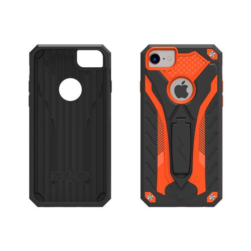 [Apple iPhone 7] (4.7 inch) Case, STATIC Dual Layer Hard Case TPU Hybrid [Military Grade] w/ Kickstand & Shock Absorption [Orange/ Black]