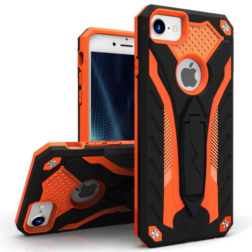 Apple iPhone 7 (4.7 inch) Case, STATIC Dual Layer Hard Case TPU Hybrid [Military Grade] w/ Kickstand & Shock Absorption [Orange/ Black] - (ID: STT-IPH7-BKOR)