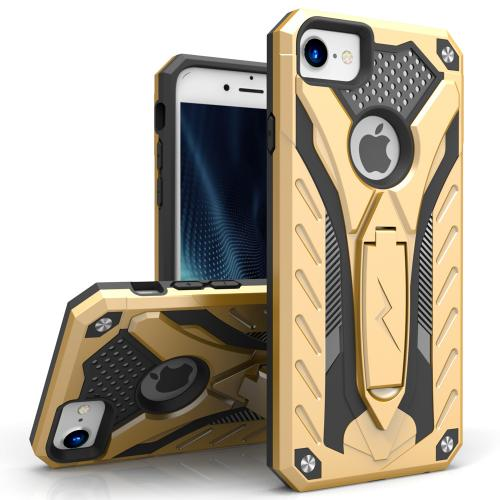 Apple iPhone 7 (4.7 inch) Case, STATIC Dual Layer Hard Case TPU Hybrid [Military Grade] w/ Kickstand & Shock Absorption [Gold/ Black] - (ID: STT-IPH7-GDBK)