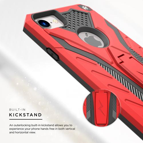 Apple iPhone 7 (4.7 inch) Case, STATIC Dual Layer Hard Case TPU Hybrid [Military Grade] w/ Kickstand & Shock Absorption [Red/ Black] - (ID: STT-IPH7-RDBK)