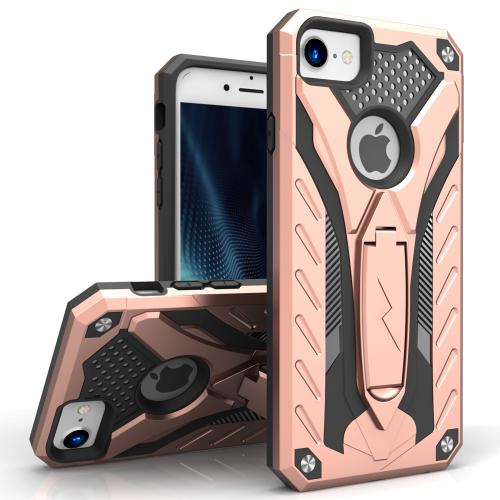 Apple iPhone 7 (4.7 inch) Case, STATIC Dual Layer Hard Case TPU Hybrid [Military Grade] w/ Kickstand & Shock Absorption [Rose Gold/ Black] - (ID: STT-IPH7-RGDBK)
