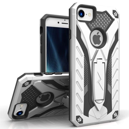Apple iPhone 7 (4.7 inch) Case, STATIC Dual Layer Hard Case TPU Hybrid [Military Grade] w/ Kickstand & Shock Absorption [Silver/ Black] - (ID: STT-IPH7-SLBK)