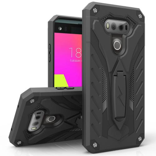 LG V20 Case, STATIC Dual Layer Hard Case TPU Hybrid [Military Grade] w/ Kickstand & Shock Absorption [Black] - (ID: STT-LGV20-BKBK)