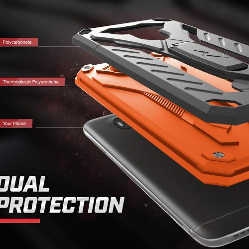 LG V20 Case, STATIC Dual Layer Hard Case TPU Hybrid [Military Grade] w/ Kickstand & Shock Absorption [Black/ Orange]
