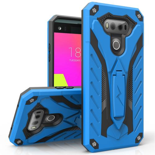 LG V20 Case, STATIC Dual Layer Hard Case TPU Hybrid [Military Grade] w/ Kickstand & Shock Absorption [Blue/ Black] - (ID: STT-LGV20-BLBK)