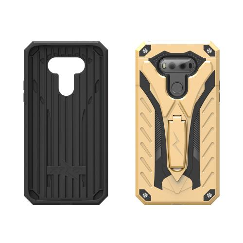 LG V20 Case, STATIC Dual Layer Hard Case TPU Hybrid [Military Grade] w/ Kickstand & Shock Absorption [Gold/ Black] - (ID: STT-LGV20-GDBK)