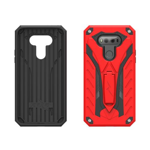 LG V20 Case, STATIC Dual Layer Hard Case TPU Hybrid [Military Grade] w/ Kickstand & Shock Absorption [Red/ Black] - (ID: STT-LGV20-RDBK)