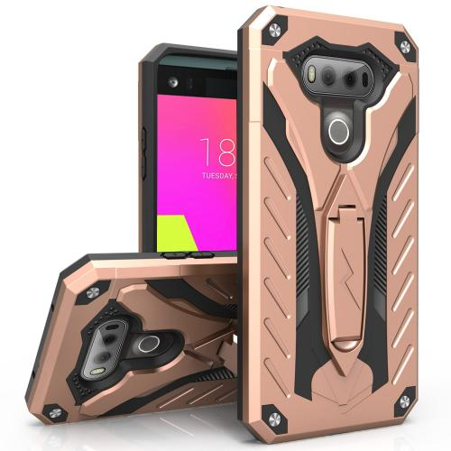 LG V20 Case, STATIC Dual Layer Hard Case TPU Hybrid [Military Grade] w/ Kickstand & Shock Absorption [Rose Gold/ Black] - (ID: STT-LGV20-RGDBK)
