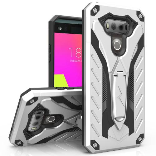 LG V20 Case, STATIC Dual Layer Hard Case TPU Hybrid [Military Grade] w/ Kickstand & Shock Absorption [Silver/ Black] - (ID: STT-LGV20-SLBK)