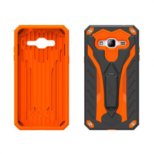 [Samsung Galaxy On5] Case, STATIC Dual Layer Hard Case TPU Hybrid [Military Grade] w/ Kickstand & Shock Absorption [Black/ Orange]