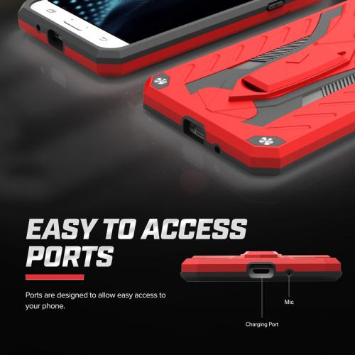 Samsung Galaxy On5 Case, STATIC Dual Layer Hard Case TPU Hybrid [Military Grade] w/ Kickstand & Shock Absorption [Red/ Black]