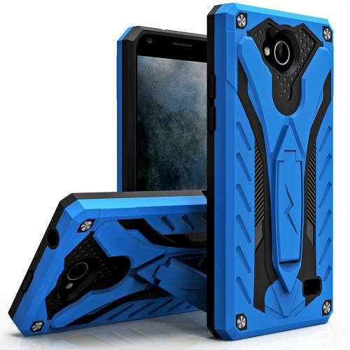 [ZTE Tempo] Case, STATIC Dual Layer Hard Case TPU Hybrid [Military Grade] w/ Kickstand & Shock Absorption [Blue/ Black]
