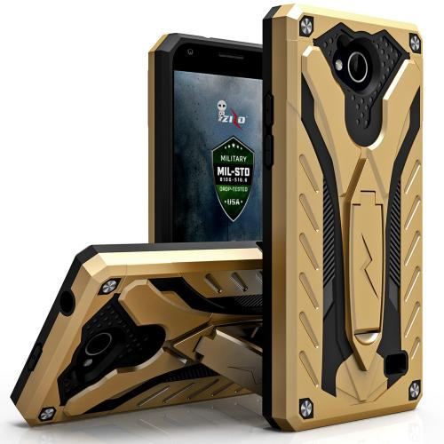 [ZTE Tempo] Case, STATIC Dual Layer Hard Case TPU Hybrid [Military Grade] w/ Kickstand & Shock Absorption [Gold/ Black]