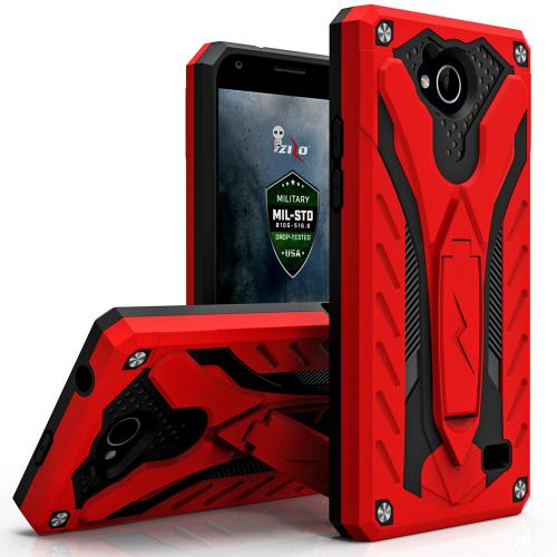 [ZTE Tempo] Case, STATIC Dual Layer Hard Case TPU Hybrid [Military Grade] w/ Kickstand & Shock Absorption [Red/ Black]
