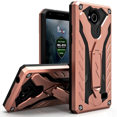 [ZTE Tempo] Case, STATIC Dual Layer Hard Case TPU Hybrid [Military Grade] w/ Kickstand & Shock Absorption [Rose Gold/ Black]