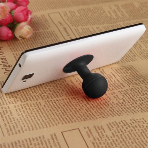 Portable Cell Phone Silicone Suction Ball Stand Holder - Black