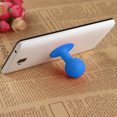 Portable Cell Phone Silicone Suction Ball Stand Holder - Blue