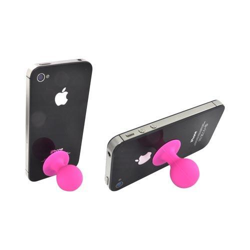 Universal Portable Cell Phone Silicone Suction Ball Stand Holder - Hot Pink