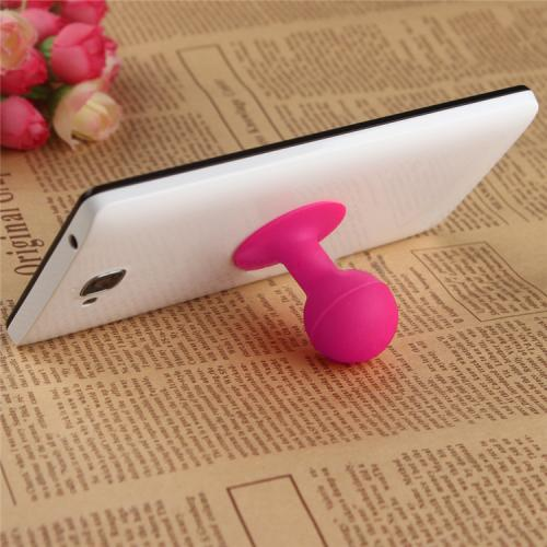 Portable Cell Phone Silicone Suction Ball Stand Holder - Hot Pink
