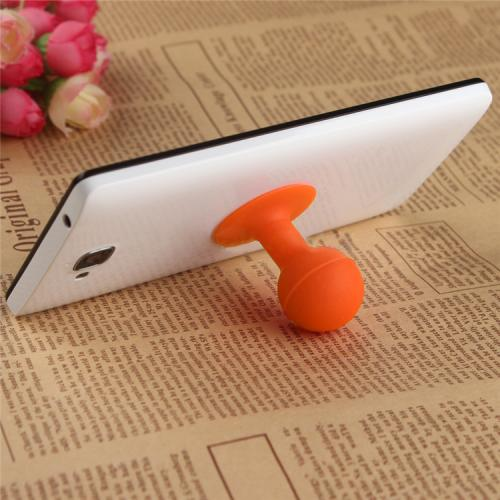 Portable Cell Phone Silicone Suction Ball Stand Holder - Orange