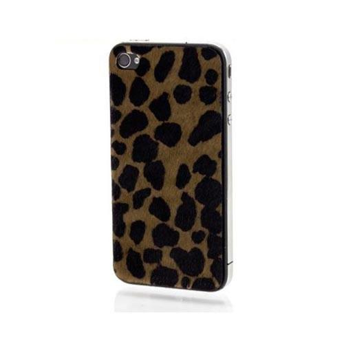 Genuine Slickwraps Fur Series At&t;/ Verizon Iphone 4, Iphone 4s Genuine Full-grain Leather Skin W/ Screen Protector - Brown/ Black Leopard