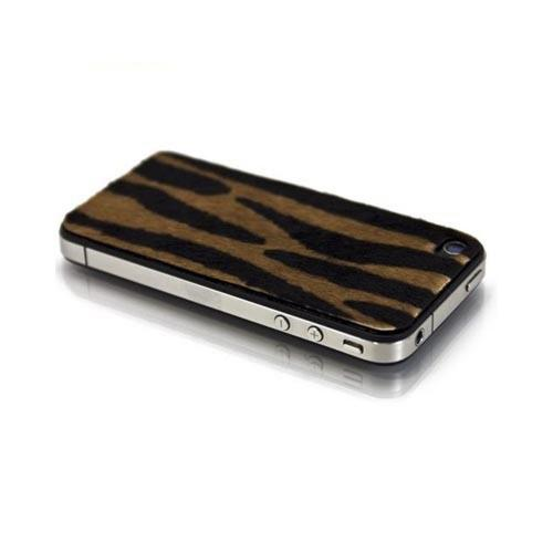 Genuine Slickwraps Fur Series At&t;/ Verizon Iphone 4, Iphone 4s Genuine Full-grain Leather Skin W/ Screen Protector - Brown/ Black Tiger