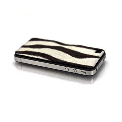 Original Slickwraps Fur Series AT&T/ Verizon iPhone 4, iPhone 4S Genuine Full-Grain Leather Skin w/ Screen Protector, SW-AIP4-ZEBRAFUR - Black/ White Zebra