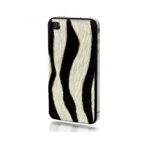 Genuine Slickwraps Fur Series At&t;/ Verizon Iphone 4, Iphone 4s Genuine Full-grain Leather Skin W/ Screen Protector - Black/ White Zebra