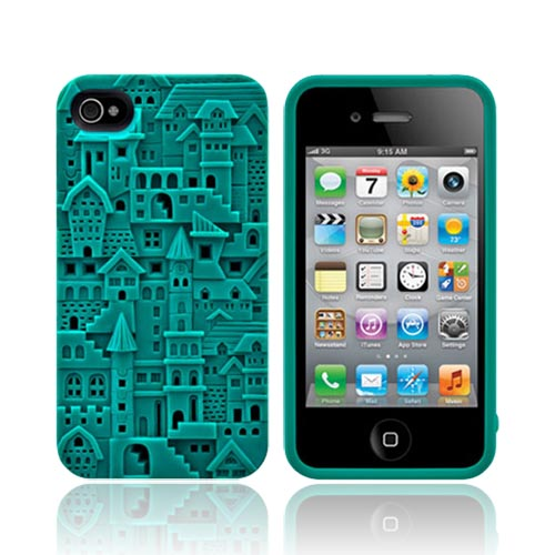 Original SwitchEasy AT&T/ Verizon Apple iPhone 4, iPhone 4S Avant-Garde Chateau Hard Case w/ Screen Protector, SW-CHA4S-TU - Teal Buildings