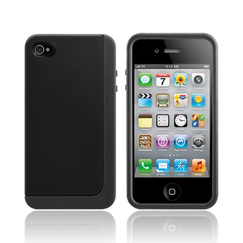 Original SwitchEasy AT&T/ Verizon Apple iPhone 4, iPhone 4S Eclipse Hybrid Hard Case w/ Silicone Border w/ Screen Protector, & Stand, SW-ECL4S-BK - Black/ Gray