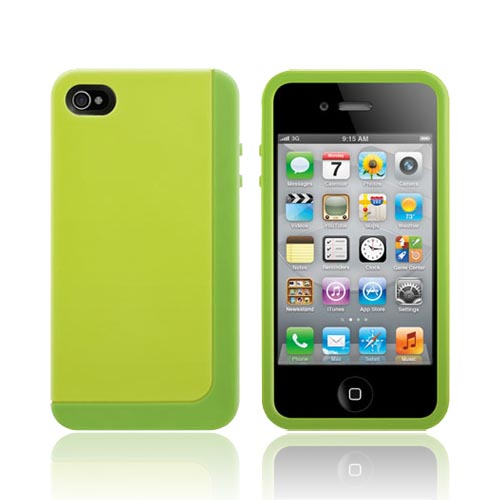 Original SwitchEasy AT&T/ Verizon Apple iPhone 4, iPhone 4S Eclipse Hybrid Hard Case w/ Silicone Border w/ Screen Protector & Stand, SW-ECL4S-L - Lime Green/ Green