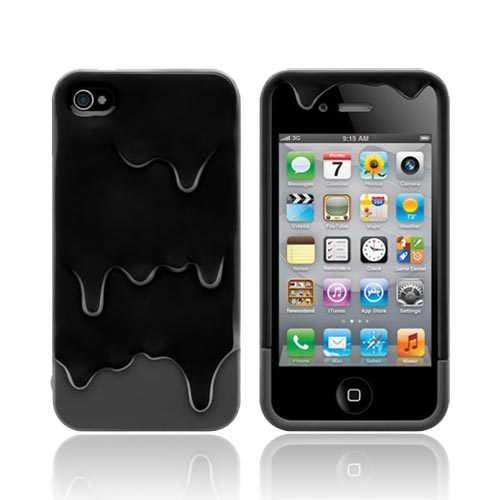 Original SwitchEasy AT&T/ Verizon Apple iPhone 4, iPhone 4S Melt Slide-On Hard Case w/ Screen Protector & Stand, SW-MEL4S-BK - Black/ Gray