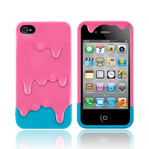 Original SwitchEasy AT&T/ Verizon Apple iPhone 4, iPhone 4S Melt Slide-On Hard Case w/ Screen Protector & Stand, SW-MEL4S-P - Pink/ Baby Blue