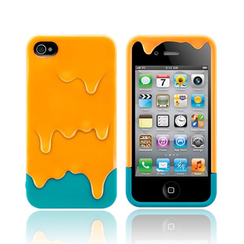 Original SwitchEasy AT&T/ Verizon Apple iPhone 4, iPhone 4S Melt Slide-On Hard Case w/ Screen Protector & Stand, SW-MEL4S-Y - Blue Green/ Orange