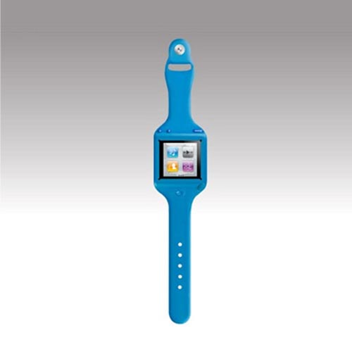 Original SwitchEasy Apple iPod Nano 6 Ticker Silicone Wrist Band Watch Case, SW-TKN6-BL - Blue
