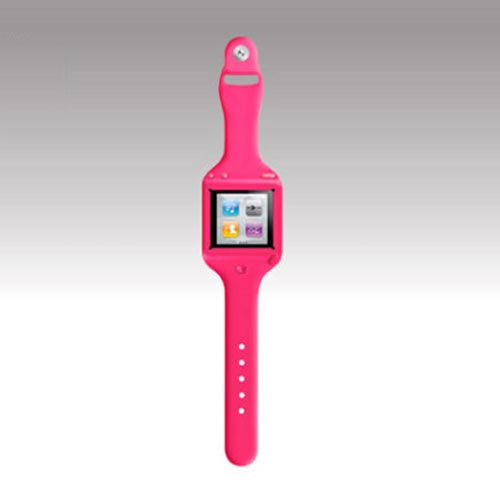 Original SwitchEasy Apple iPod Nano 6 Ticker Silicone Wrist Band Watch Case, SW-TKN6-P - Pink